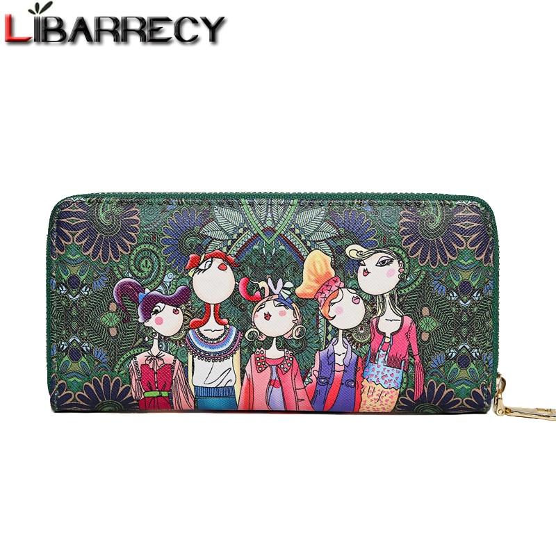 Fashion Cartoon Flower Print Women Wallets PU Leather Zipper Wallet Ladies Long Design Coin Purse Card Holder Clutch Feminina