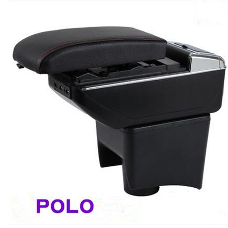 Car Armrest Central Store Storage Box For VW POLO 2008 2009 2010 2011 2012 2013 2014 2015 2016 5th Generation free shipping car armrest central store content storage box with usb for honda fit 2002 2010 2016 2017 2015 2014 2013 2012 2011
