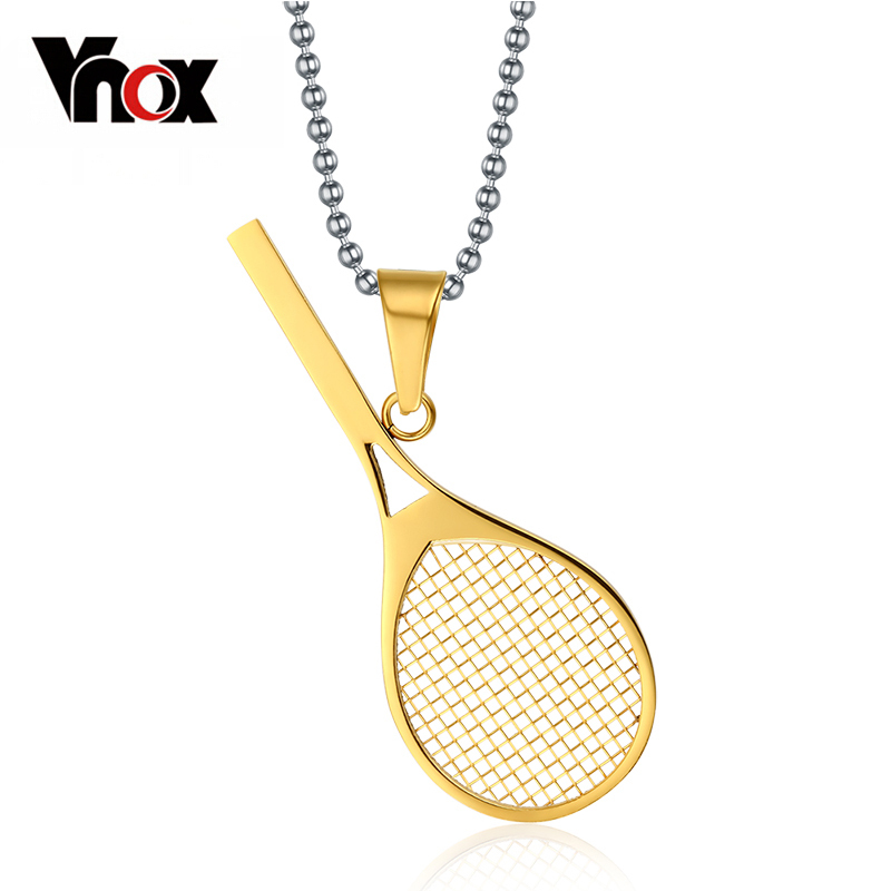 Prix pour Vnox mignon sport raquette de tennis en acier inoxydable pendentifs colliers pour femmes livraison 24 pouce chaîne