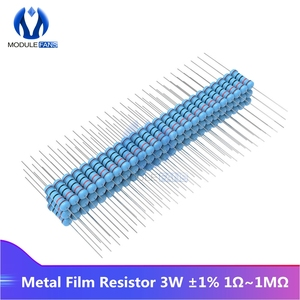 100PCS Metal Film Resistor 1R-1M 1R 2.2R 4.7R 5.1R 10R 20R 22R 47R Ohm Resistance 1% +1% -1% 3W Diy Electronic