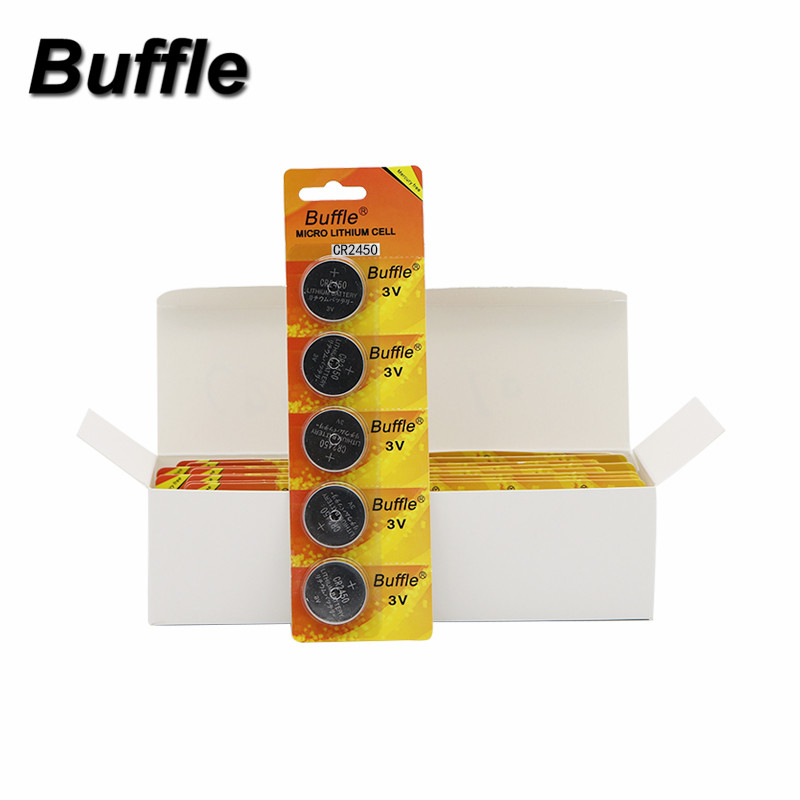 Buffle 40pcs/8packs CR2450 Button Cell Coin Cattery <font><b>2450</b></font> ECR2450 lithium <font><b>Battery</b></font> Wholesale