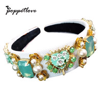 New Trend Baroque Luxury Velvet Crown Crystal Flower Hair Band Hair Jewelry Accessories Wedding Party Tiara