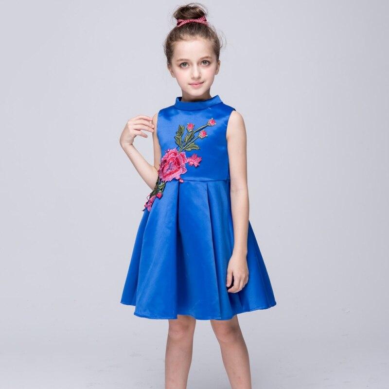Top Horse !  Wholesale Girls New Summer Fashion Cute Ball Gown Princess Dresses Sleeveless Turtleneck Print Embroidery Dress Bow Mini Dress
