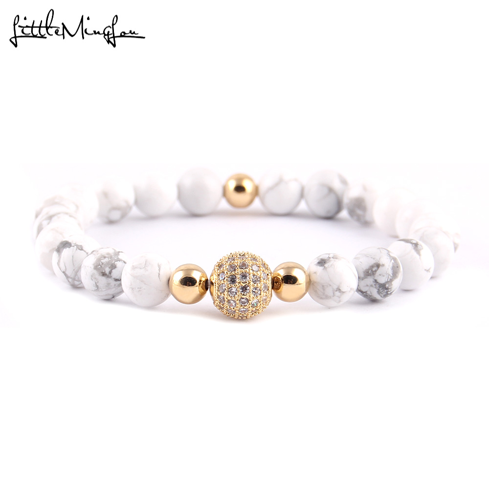 WML 8mm White bead Men Bracelet Luxury pave CZ Ball Charm Bracelets & Bangles for men Jewelry