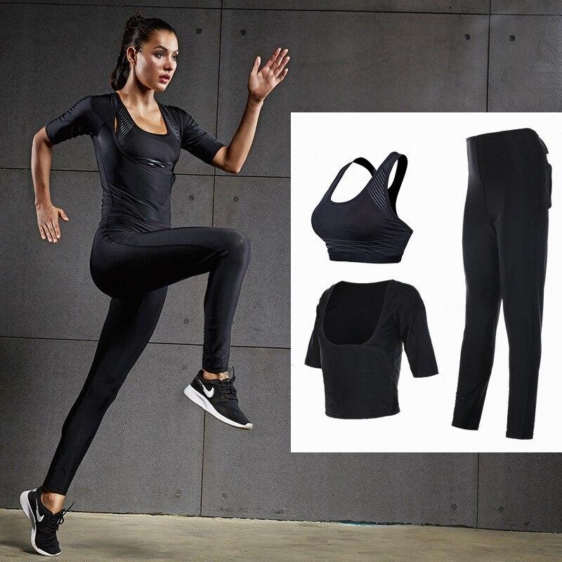 Femmes course ensemble Sportswear Yoga filles trois pièces Gym Sport ensembles chaud Shapers sueur perdre graisse Burne Stretch minceur taille pantalon