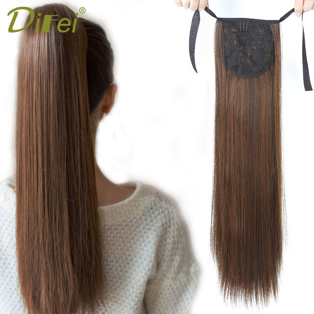 Synthetic Long Straight Ponytail Clip In Drawstring Pony Tail Hair