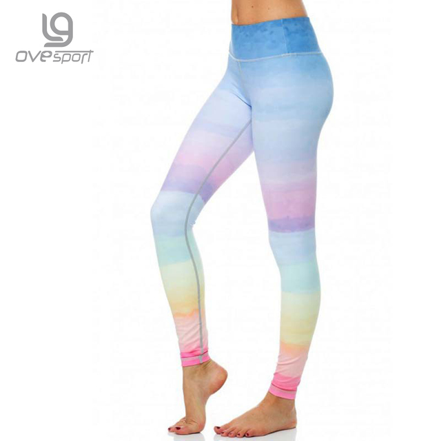 Ovesport D été Belle Arc-En-Ciel Jambières De Yoga femme Taille Haute 337611c64d1