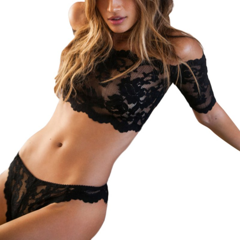 40fb2fa7ab3 Lace Bra Panties Set Women s Black Thin Cup Sexy Breathable Lingerie Set  Intimates Hollow Out Underwear Set YO8