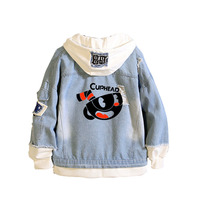Game Cuphead Mugman Print Sweatshirt kawaii Hooded Denim Jacket Women Long Sleeve Jeans Jacket Cartoon Spring Patchwork Hoodies