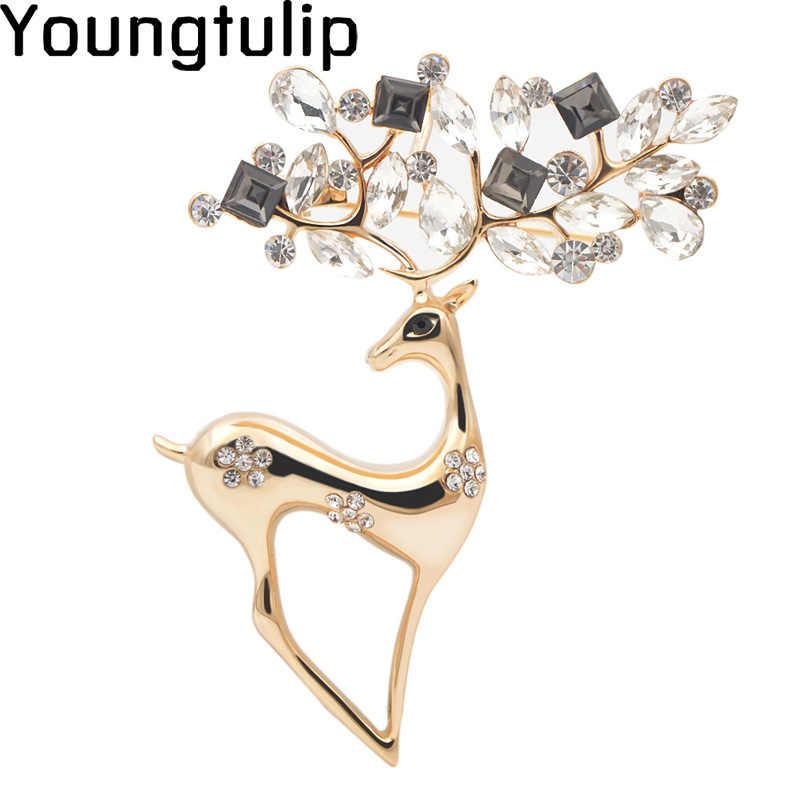 Muda Tulip Kreatif Beruntung Rusa Bros untuk Wanita Hidup Kristal Berkilau Hewan Pin Aksesori Berlian Imitasi Perhiasan Enamel