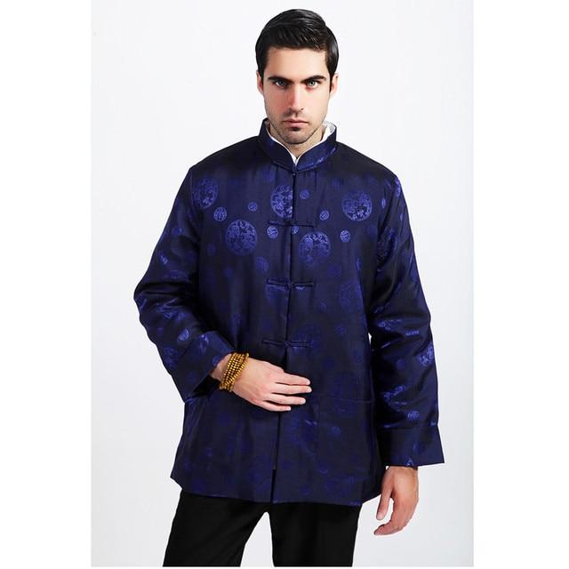 98452439023 New Blue Chinese Men Silk Satin Coat Winter Thick Cotton-Padded Jacket Warm  Overcoat Outwear Size M L XL XXL XXXL