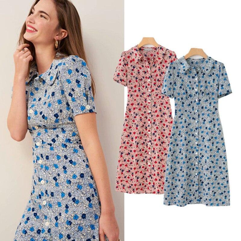 New Women Dress Summer Flower Floral Print Short Sleeve Elegant Slim Long Dress