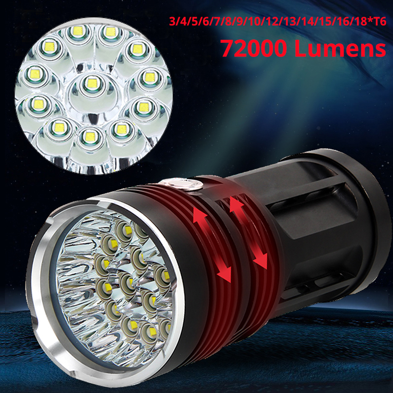 Powerful LED Flashlight 72000 Lumens 3to18*T6 LED Torch Light Tactical Flashlight 3Modes Linterna Portable Lamp Light By 4*18650