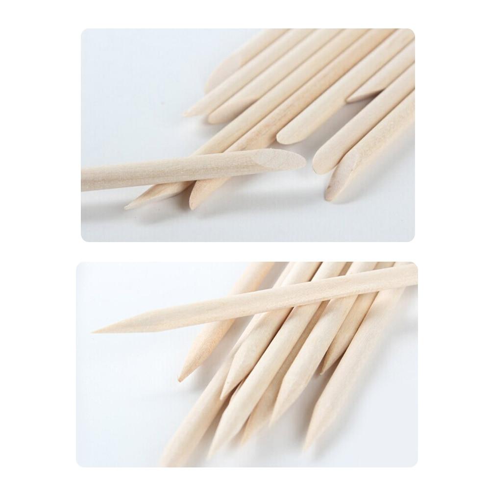 100pcs/pack Nail Art Orange Stick Manicure Cuticle Pusher Double ...