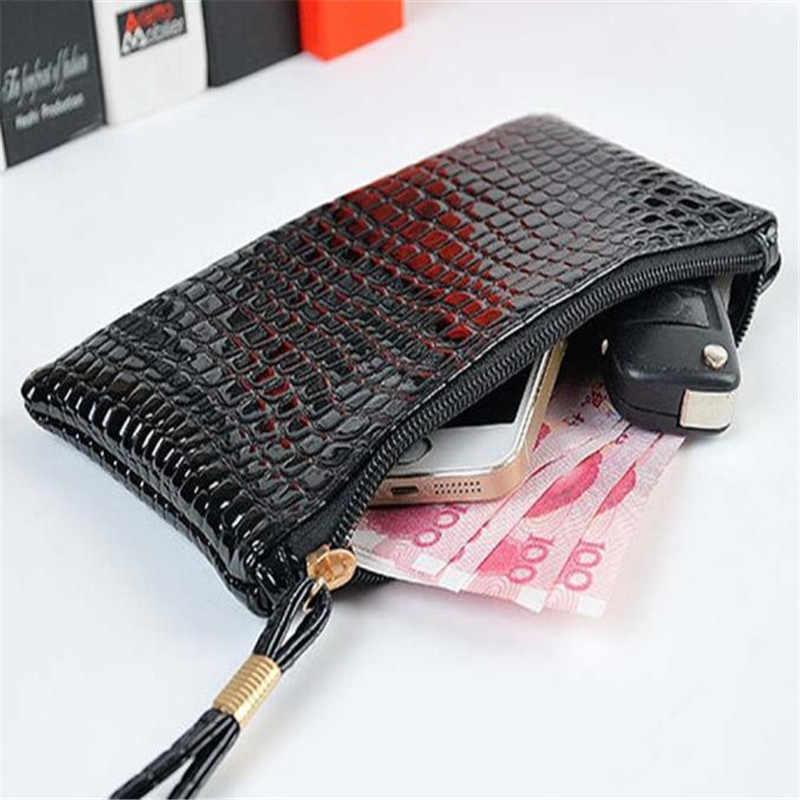 1PC Cartão Da Bolsa Da Carteira Chave de Couro Mini Bolsa de Crocodilo Saco Bolsa Pequena bolsa Com Zíper Moeda Bolsa Titular do Cartão Carteira seis Cores