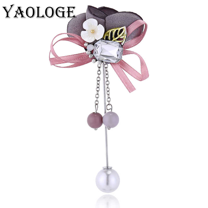 YAOLOGE Fashion Colorful Cloth Pins Rhinestone Brooch For Women Imitation Pearl Corsage Vintage Statement Jewelry Birthday Gifts
