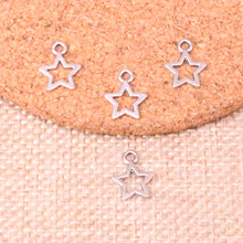50pcs star Charms Antique Silver Tiny Star Charms Lot Hollow Star For Jewelry Making 12mm cheap DELAIWEN Zinc Alloy Other Fashion QQM-1 Metal TRENDY