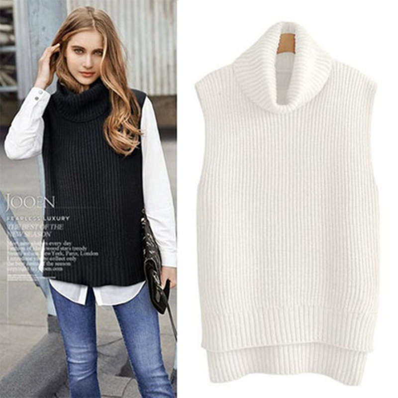 Cashmere Knitted Women's Vest High Collar Female Gilet Autumn Sleeveless Pullover Thick Warm Winter Waistcoat For Women Sweater