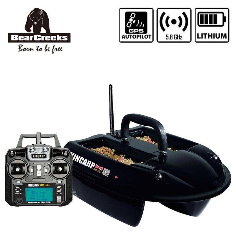 GPS Autopilot kincarpe carpe double crochet pêche V1 appât bateau avec batterie au lithium 1500G leurre bateau 4 trémies