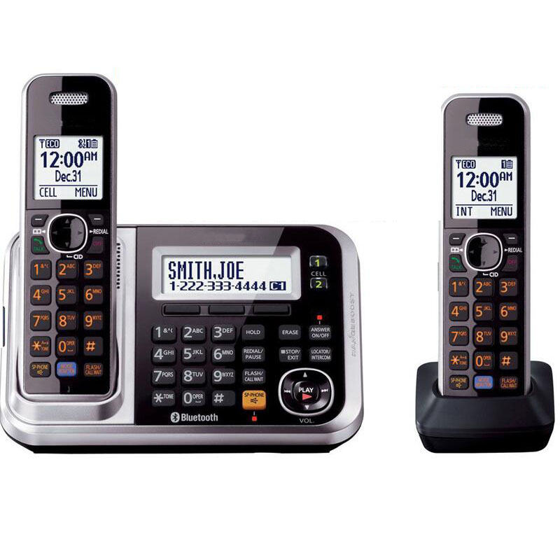 DECT 6.0 Link-to-Cell Bluetooth Cordless Phone With Answering System Call ID Redial Voice Mail Landline Phone For Home Office answering back