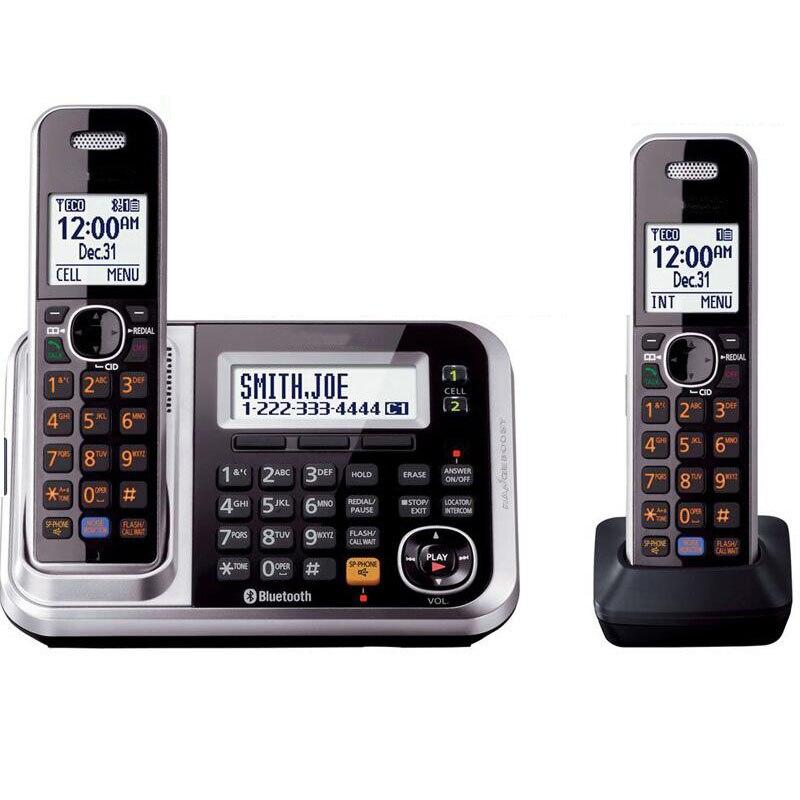 Teléfono inalámbrico con Bluetooth DECT 6,0, Enlace a celda, con sistema de respuesta, llamada, ID, rellamada, correo de voz, teléfono fijo para la oficina en casa