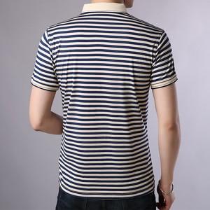 Image 2 - Thoshine 브랜드 여름 남성 우수한 폴로 셔츠 95% Viscose 패션 스트라이프 폴로 셔츠 통기성 인과 Camisa 턴 다운 칼라