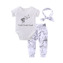 2019 Summer baby girl clothes set white short sleeve Top +pants +Headband 3pcs Newborn baby girl clothing Infant toddler suit