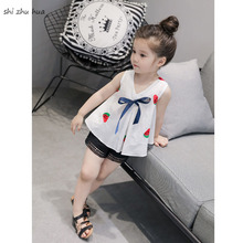 Girls Clothes Skirt Suit Cartoon Print Vest Beach Pants Two-piece Summer Infant Baby 1-5 Y Child Quality Clothing 2019 Hot Sale
