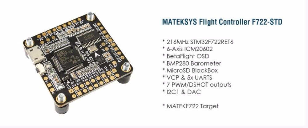 MATEKSYS F722-STD Flight Control for DIY FPV cross racing mini quadcopter drone diy mini drone flight control kit sp racing f3 mini m8n gps cf osd holder for qav250 robocat270 nighthawk 250 quadcopter