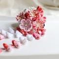 Japanese Handmade Sakura Ball-flower Hairpin with tassel, for Seven Five Three Graduation Wedding Adult Ceremony Kimono Yukata