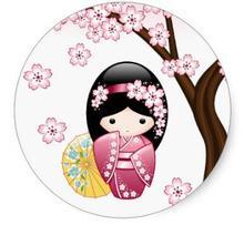 1.5 дюйма Весна кокэси куклы-Симпатичные японские гейши Девушка Классический круглый Стикеры