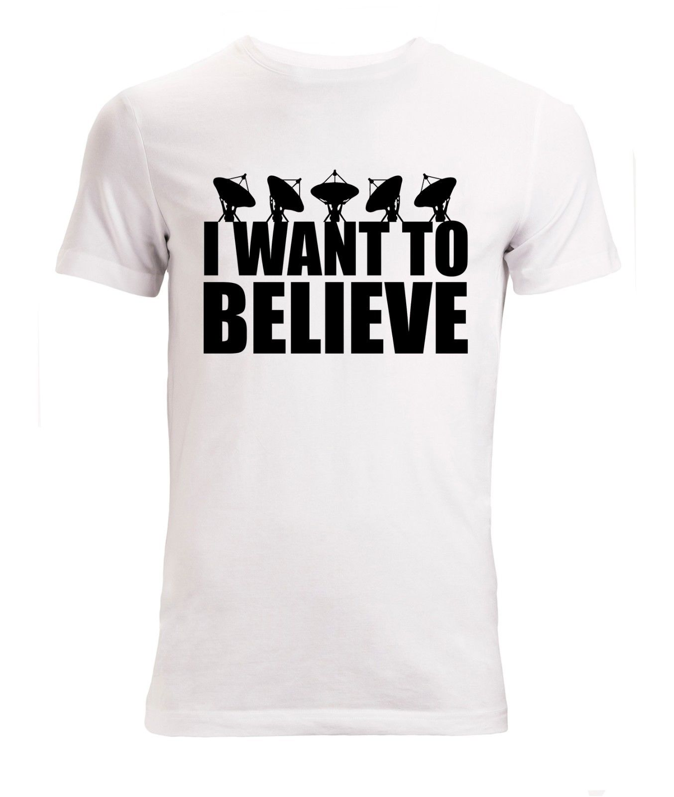 I Want To Believe Black Satellite Men's () T Shirt White Top Print T-Shirt Men Brand Clothing Fashion Style