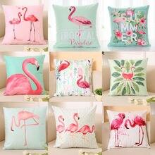 2019 New Creative Flamingo Print Cartoon Pattern Home Decor Pillowcase Throws Pillow Case Waist Cushion Covers flamingo print v back drop waist dress