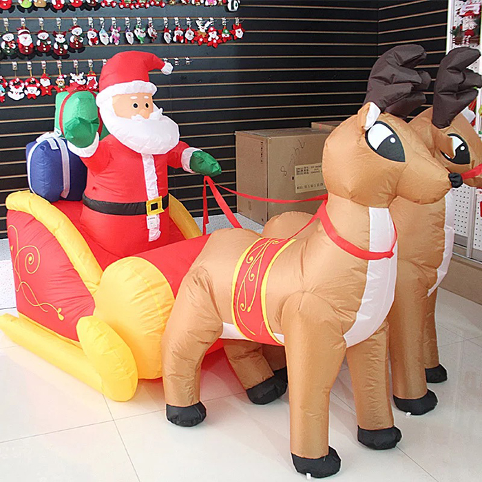 7 FT Long Christmas Inflatable Santa on Sleigh with 2 Reindeer and Gift Boxes Yard Decoration