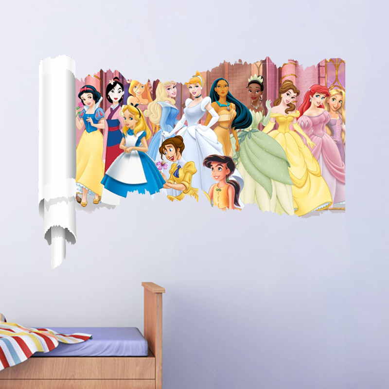 cartoon snow girl princess wall stickers for girl's rooms 3d broken