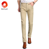 Slim Fit Khaki Casual Pants Long Chinos Men Chinos Stretch Cotton Pants Straight Skinny Trousers Brand