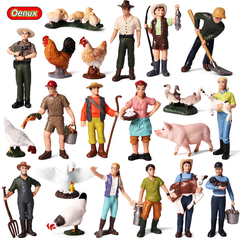 Oenux Cute Zoo Farm Staff Simulation Farmer Model Action Figures Workers Figurine Animals Collection&Educational Lovely Toys mr froger carcharodon megalodon model giant tooth shark sphyrna aquatic creatures wild animals zoo modeling plastic sea lift toy