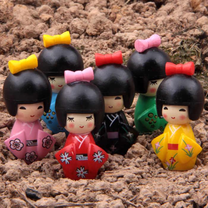1 pcs Figura de Ação Aleatória Kimono Meninas 2 Geração Microscópica bonsai 3 cm PVC Micro enfeites de decoração Modelo Boneca Anime