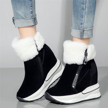 New Winter Creepers Women Shoes Cow Suede Leather Wedges High Heel Pumps Warm Fur Platform Ankle Boots Hi-Top Punk Oxfords