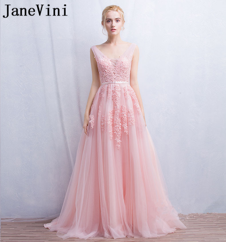 JaneVini Tulle Long   Bridesmaid     Dresses   Pink Lace Appliqued Pearls Wedding Guest Party   Dress   A Line V-Neck vestidos de gala 2019