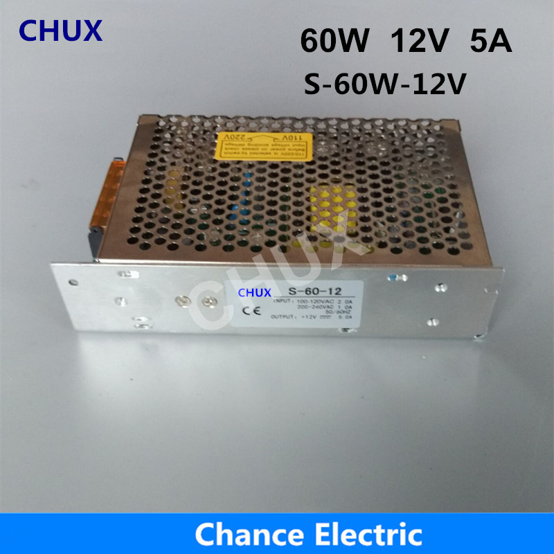 DC Single Output Switching Power Supply 12v CE ROHS DC To AC S-60W-12V 5A For Led Driver Strip Power Supply 60W