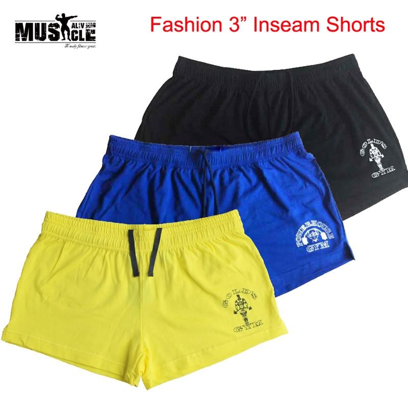 MUSCLE LEBENDIG Marke Kleidung Bodybuilding Shorts Männer Gold der Fitness Workout Lässige Druck Baumwolle kurze hosen 5 Farben Sportswear
