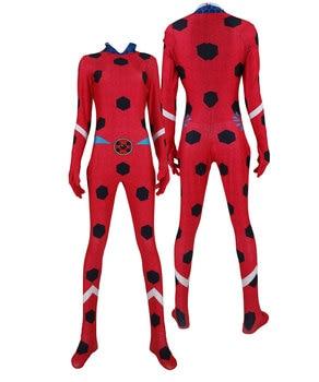 Ladybug Marinette Cosplay Costume Bug Superhero Halloween 3D Print Lycra Zentai Suit Girls Women Adults/Kids