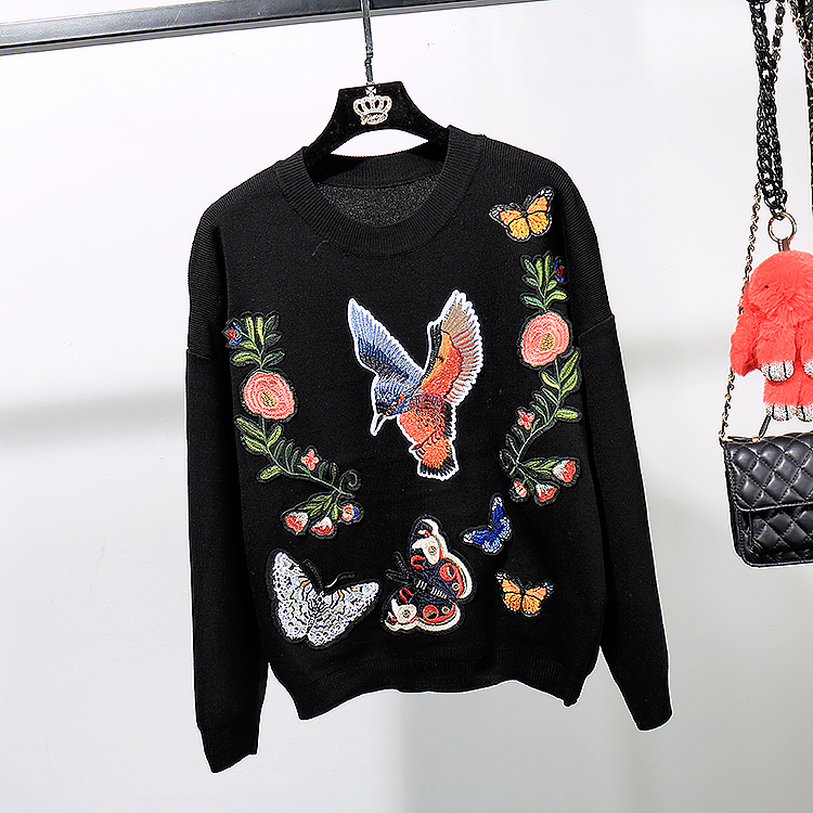 c95268f44 Women Set 2018 Autumn Winter Fashion Embroidery Knitted Sweaters ...