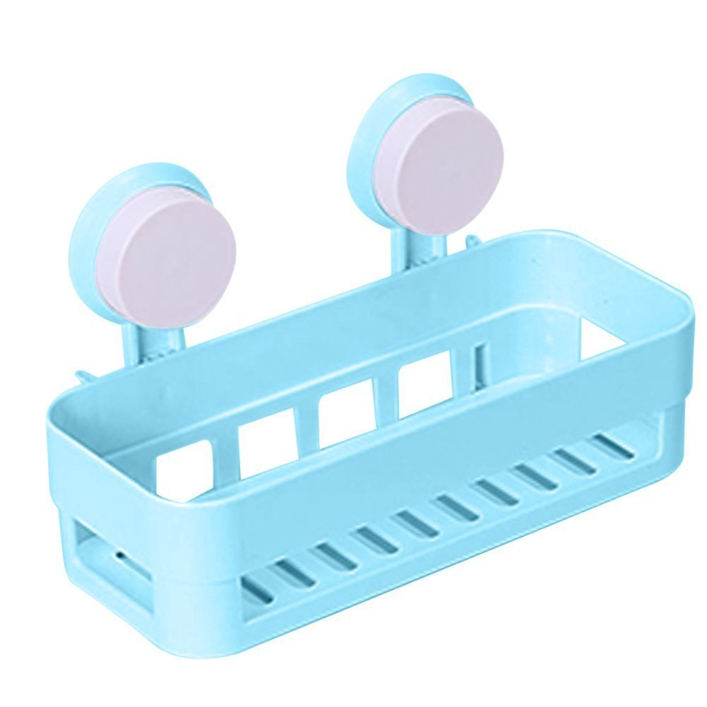 kitchen bathroom shelf plastic shower caddy organizer holder tray with suction cups blue