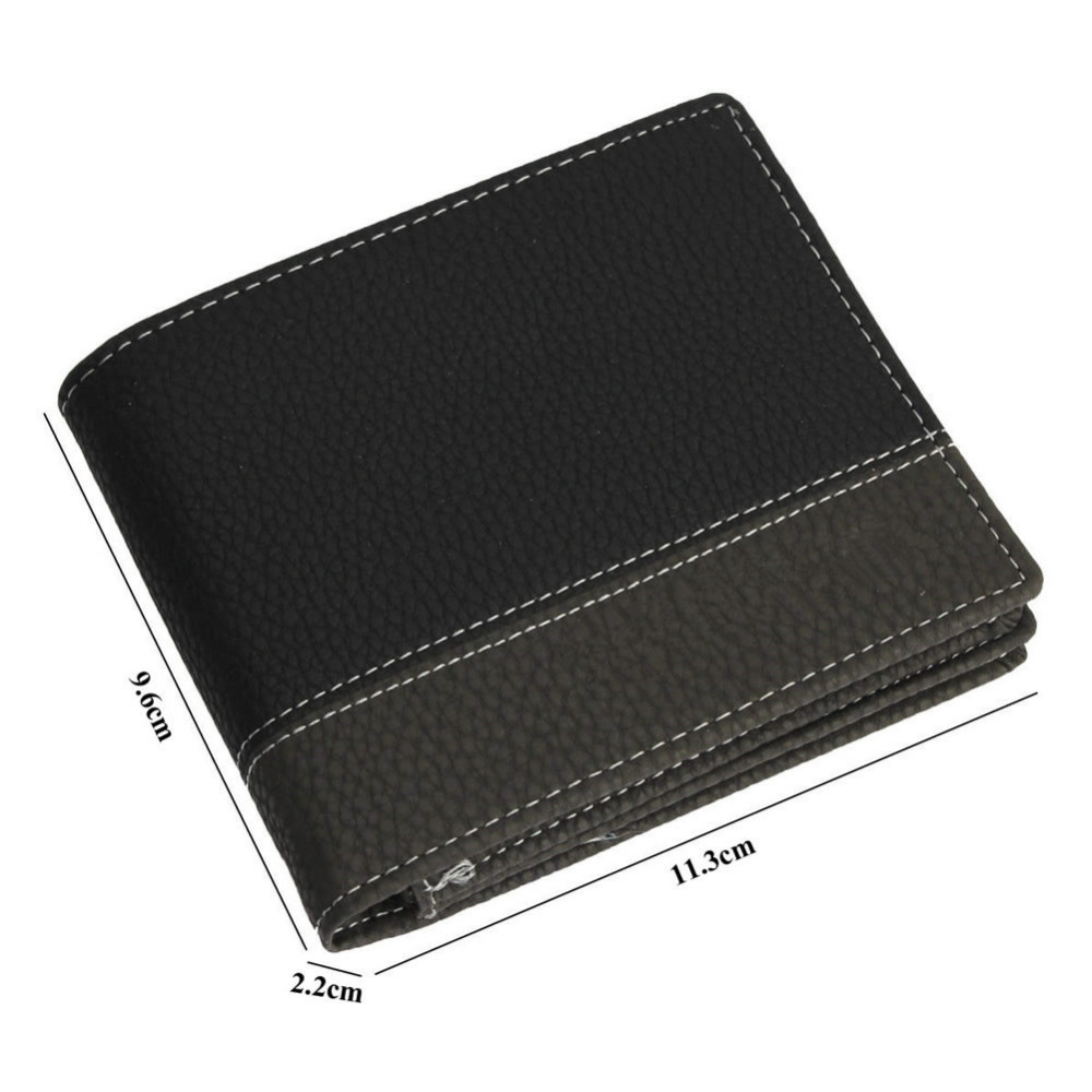 4 Colors Men Vintage Fashion Faux Leather Patchwork Short  Bifold Wallet ID Credit Card Holder Billfold Purse Clutch W1696