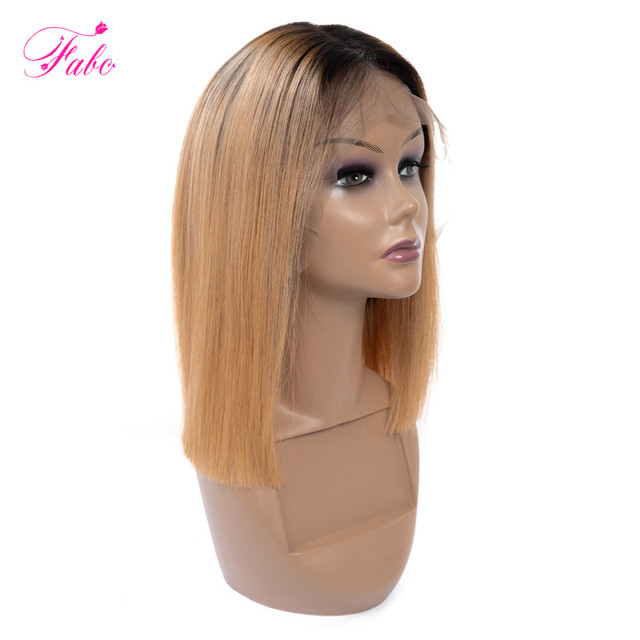 70474c3be3f FABC Lace Front Human Hair Wigs For Black Women Brazilian Remy Ombre Blond  Straight Short Bob Wigs Pre Plucked 150% Density