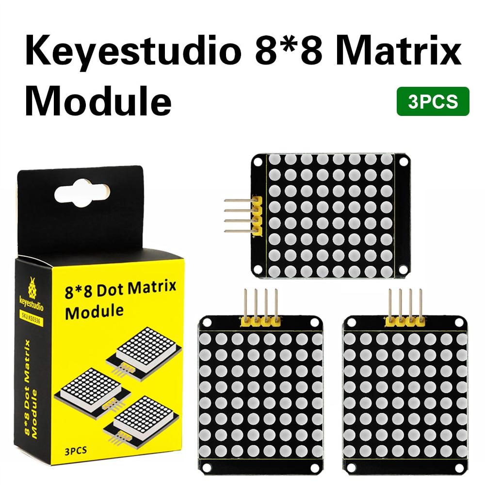 3PCS Keyestudio Red Color Common Cathode I2C 8*8 LED Dot Matrix Module HT16K33 For Arduino UNO R3