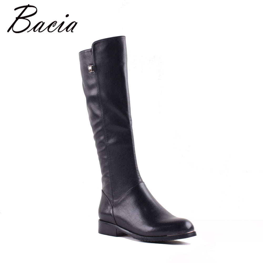 Bacia Girls Slim Long Knee High Boots Real Natural Leather Boots With Short Plush Metal Design Boots Barrel Size 35-41 MC004
