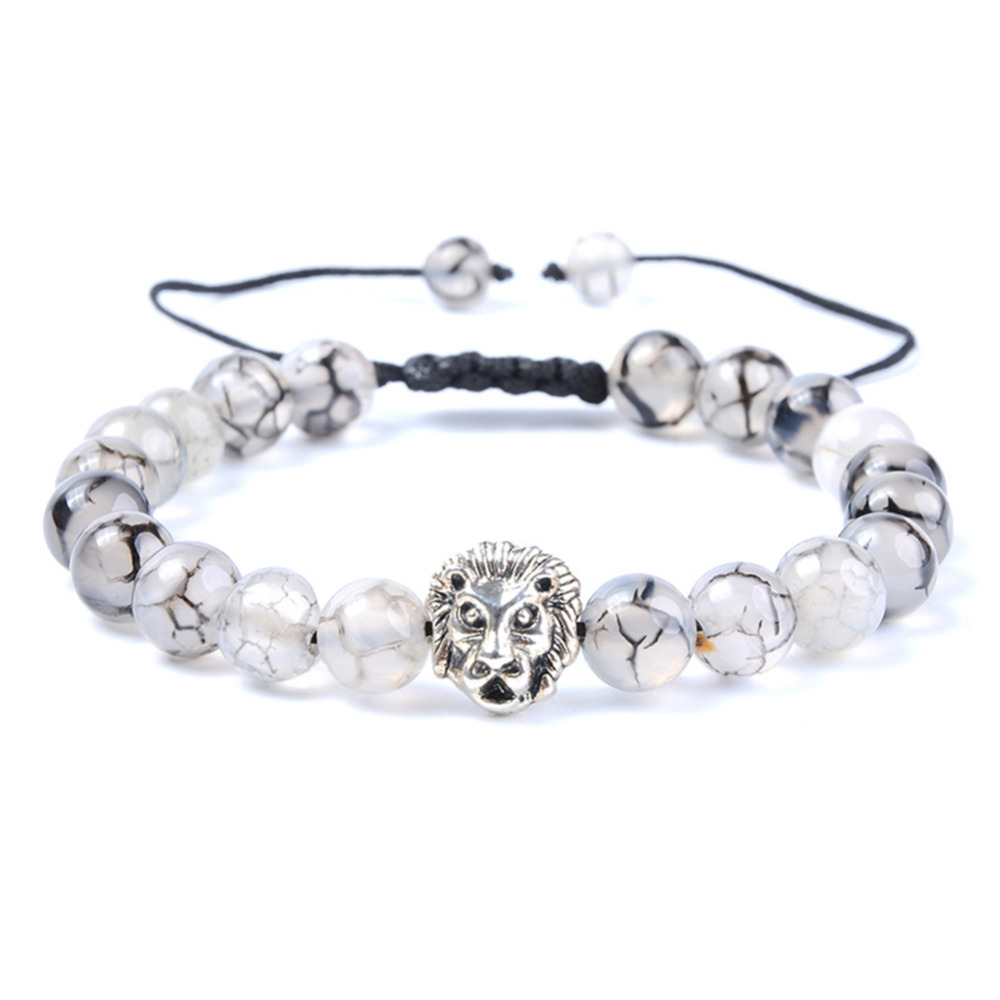 Ethnic Sytle Black Dragon Pattern Tibet Lions Head Beads Strand Bracelet Stone Spacer Beaded Charms 8mm